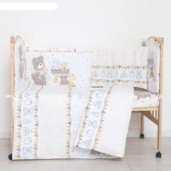 Комплект в кроватку (6 предметов) мишки и зайки, цвет бежевый, бязь, хл100