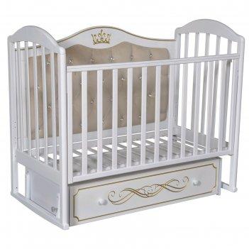 Кроватка «кедр» emily-4, универсальный маятник, ящик, цвет белый