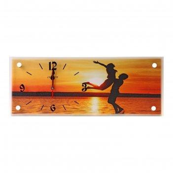 Часы настенные, серия: люди, влюбленные на закате, 20х50 см