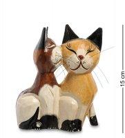 В1-0415 статуэтка кошки коричневая и бежевая поцелуй