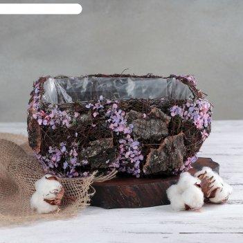 Кашпо плетеное дерево желаний квадрат, 20х20х10 см