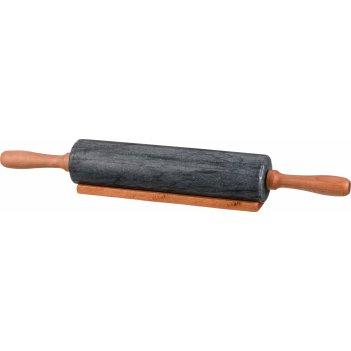 Скалка agness мраморная с деревянными ручками длина=46 см диаметр=6 см (ко