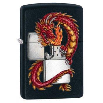 Зажигалка zippo дракон, латунь с покрытием black matte, чёрная с изображен