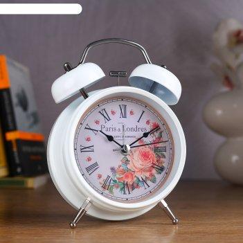 Будильник белый с подсветкой, на циферблате цветы, paris b londres, 2 звон