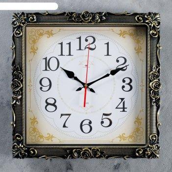 Часы настенные, серия: классика, барака, чёрное золото, 38х38 см