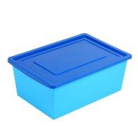 Ящик универсальный для хранения с крышкой, объем 30л., цвет: небесно- сини