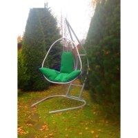 Подвесное кресло на стойке корфу, белое/зелёная