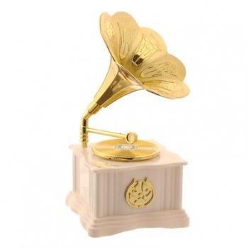 Сувенир пластик музыкальный механический граммофон белый с золотом 18х9х