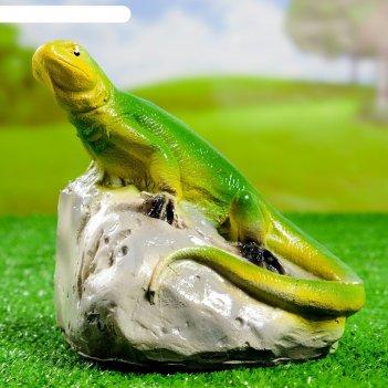 Садовая фигура ящерица на камне, 16х16см, микс