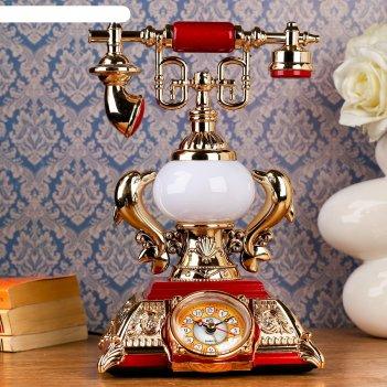 Часы-светильник ретро телефон, красные вставки, 18х18х28,5 см