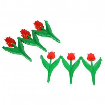 Ограждение декоративное, 30 x 225 см, 5 секций, пластик, красный цветок, «
