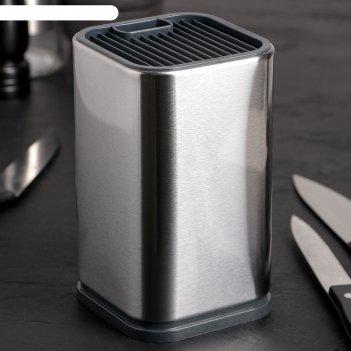 Подставка для ножей и ножниц 10x10x17 см металлик