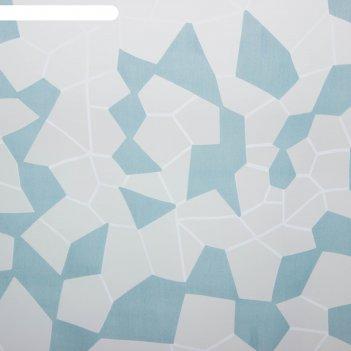 Тюль этель абстракция (цвет голубой) без утяжелителя, ширина 250 см, высот
