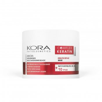 Маска - кератиновое восстановление волос kora, 300 мл