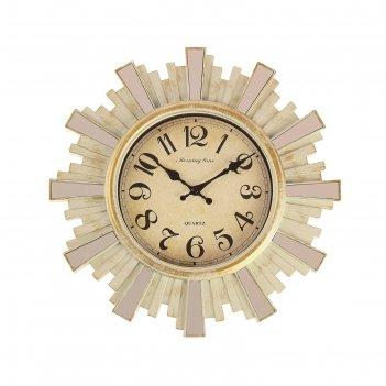 Часы настенные, серия: интерьер, лучики солнца, круглые, с зеркалом, бежев