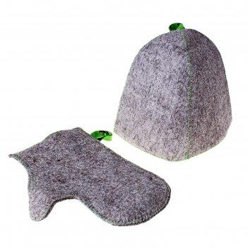 Комплект банный (шапка,рукавица), войлок серый