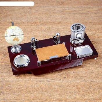 Набор настольный 7в1 (часы, блок д/бумаги,визитица,глобус, подст д/ печати