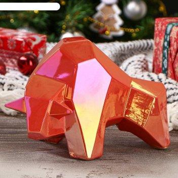 Копилка бык, оригами, красный жемчуг, 15 см