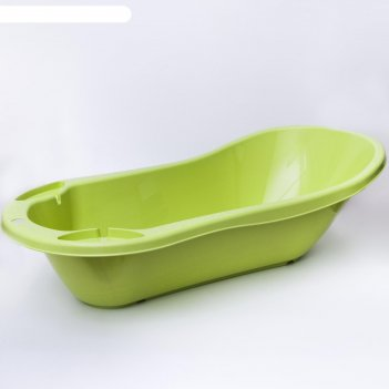 Ванна детская с клапаном для слива воды и аппликацией, цвет салатовый
