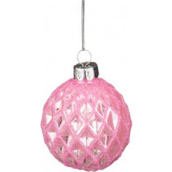 Декоративное изделие шар стеклянный диаметр=6 см. цвет: розовый (кор=120шт