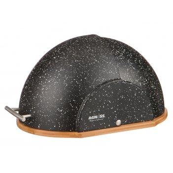 Хлебница agness деревянная с пластиковой крышкой, цвет черный мрамор 36*26