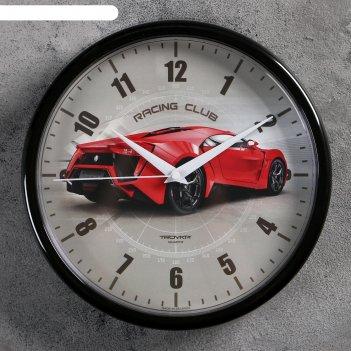 Часы настенные гоночный автомобиль, d=22.5 см, красный