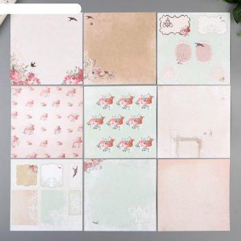 Набор бумаги для скрапбукинга (24 листов) цветущая весна 15х15 см