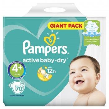 Подгузники pampers active baby 4+ maxi plus,  (9-16 кг),  70 шт