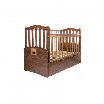 Детская автоматическая кроватка укачай-ка 03, орех с матрасом дака-тонус