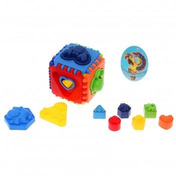 Сортер-куб развивающий, 12 элементов, формочки для песочницы