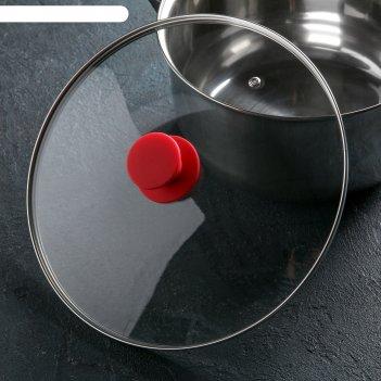 Крышка стеклянная d=28 см silk, ручка силиконовая микс