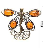 Am-1663 брошь стрекоза фея (латунь, янтарь)
