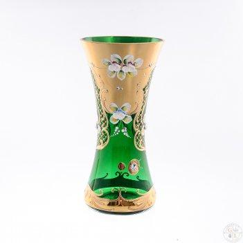 Ваза для цветов bohemia лепка зелёная 22см