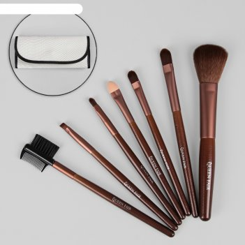 Набор кистей для макияжа «рептилия», 7 предметов, футляр на кнопке, цвет б