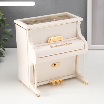 Шкатулка музыкальная механическая белый рояль 16х14,5х11 см
