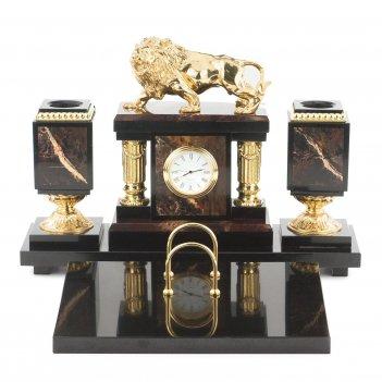 Настольный набор лев яшма долерит бронза 340х290х235 мм