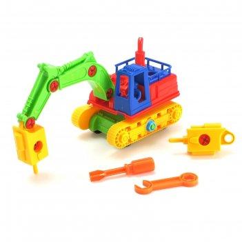 Конструктор машина экскаватор, цвета микс