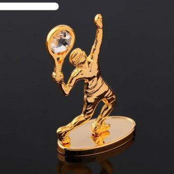 Сувенир теннисист на зеркальной подставке, с  кристаллами сваровски, 8,5х6
