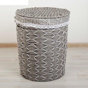 Корзина для белья плетеная круглая вьюнок 44х34х53 см, серый, большая