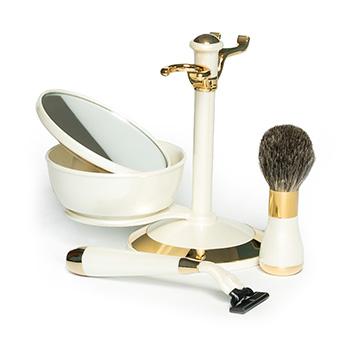 Бритвенный набор перламутр и золото, gillette mach-3, нат. ворс, ю.корея