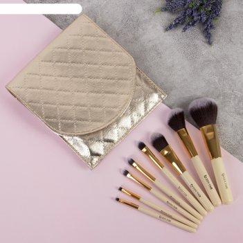 Набор кистей для макияжа элегант, 8 предметов, 18,5*16,5*2см, цвет золотой