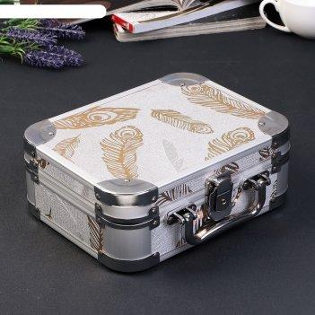 Шкатулка металлокаркас чемодан золотые пёрышки на серебре 8,5х23х18 см