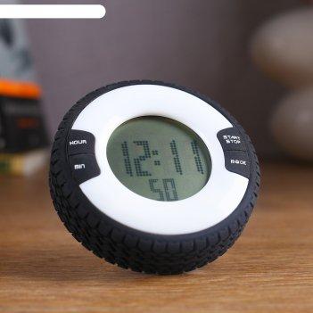 Часы-будильник электронные шина, с секундомером, обратный отсчёт, серые, 8