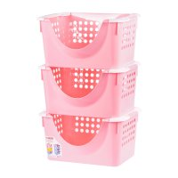 Корзина универсальная мобильная этажерка, набор 3 штуки, цвет розовый