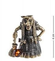 Am-1000 фигурка колокольчик баба-яга (латунь, янтарь)
