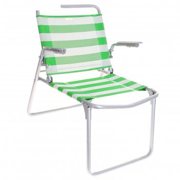 Кресло-шезлонг складное зелено-белый 1 к1