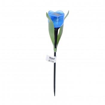 Фонарь садовый на солнечной батарее uniel синий тюльпан, белый свет, ip44,