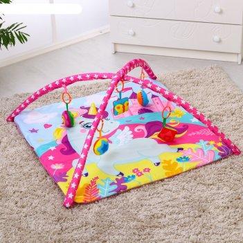 Коврик развивающий «принцесса», 75х75 см, дуги, 5 игрушек