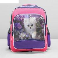 Рюкзак школьный 83а, 25*25*36, 1 отд на молнии, 4 н/кармана, розовый/сирен