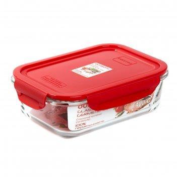Стеклянный контейнер oursson, 1 л, красный